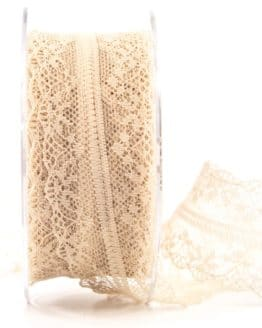 Feine Spitze, sand, 40 mm breit - spitzenbaender, hochzeit, geschenkband, geschenkband-fuer-anlaesse, anlasse