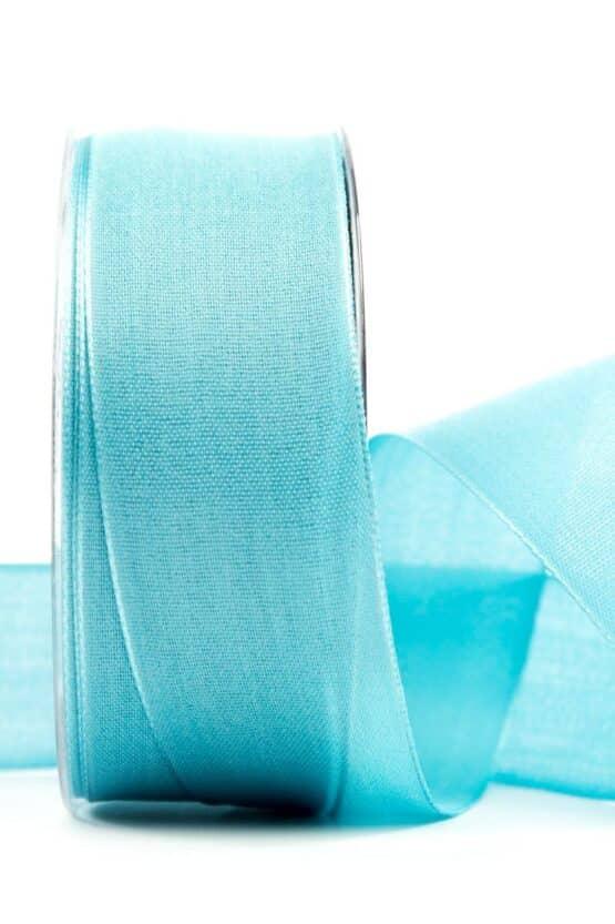 Geschenkband Leinen, türkis, 40 mm breit - geschenkband, geschenkband-einfarbig