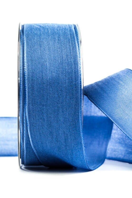 Geschenkband Leinen, jeansblau, 40 mm breit - geschenkband, geschenkband-einfarbig