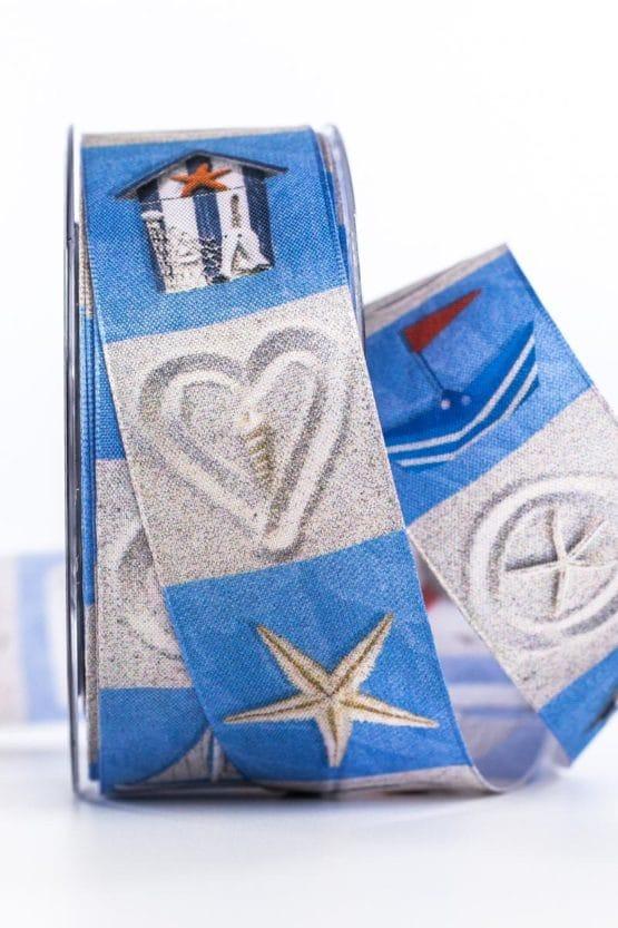 Maritimes Dekoband, blau, 40 mm breit - geschenkband-gemustert