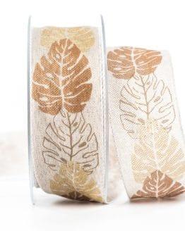 Changierendes Schleifenband Blätter, braun, 40 mm breit - geschenkband, geschenkband-gemustert