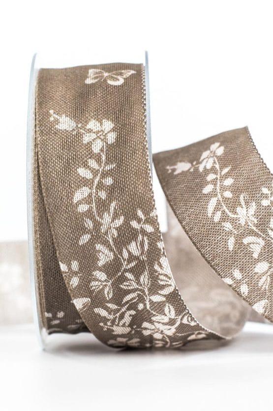 Changierendes Geschenkband Schmetterlinge, taupe, 40 mm breit - geschenkband, geschenkband-gemustert