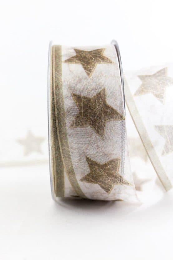 Geschenkband Sterne, braun, 40 mm breit - weihnachtsbaender, geschenkband-weihnachten-gemustert, geschenkband-weihnachten