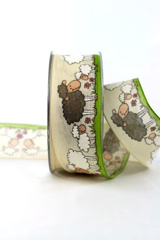 Geschenkband mit Schafen, 40 mm breit - ostern, geschenkband, geschenkband-fuer-anlaesse, anlasse