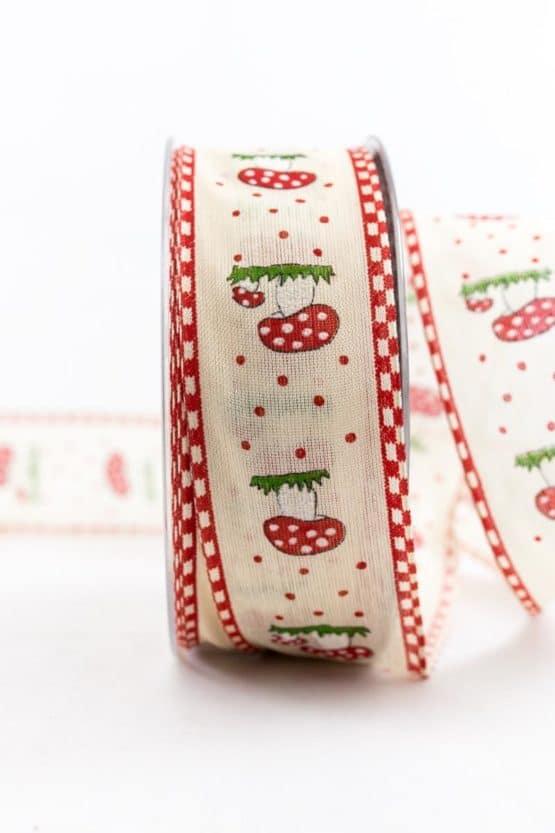 Geschenkband Fliegenpilz, rot-creme, 40 mm breit - weihnachtsbaender, geschenkband, geschenkband-weihnachten-gemustert, geschenkband-weihnachten, geschenkband-gemustert