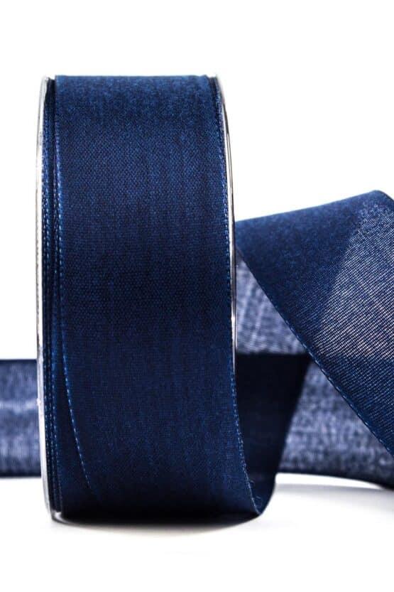 Geschenkband Leinen, marineblau, 40 mm breit - geschenkband, geschenkband-einfarbig