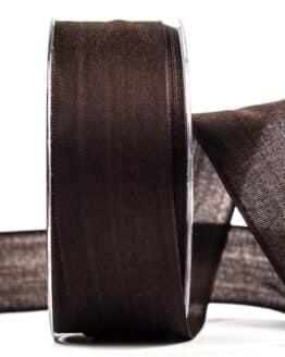Geschenkband Leinen, braun, 40 mm breit - geschenkband, geschenkband-einfarbig