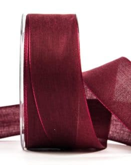 Geschenkband Leinen, dunkelrot 40 mm breit - geschenkband, geschenkband-einfarbig