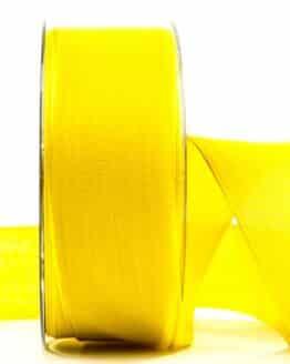 Geschenkband Leinen, gelb, 40 mm breit - geschenkband, geschenkband-einfarbig