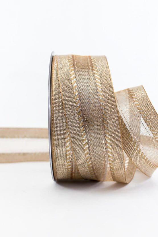 Elegantes Weihnachtsgeschenkband, gold, 40 mm breit - weihnachtsbaender, geschenkband-weihnachten-einfarbig, geschenkband-weihnachten