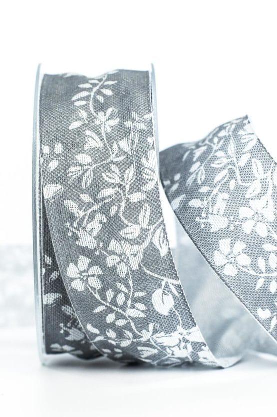 Changierendes Geschenkband Schmetterlinge, grau, 40 mm breit - geschenkband, geschenkband-gemustert