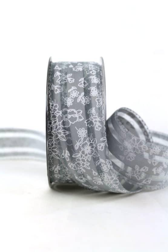 Elegantes Geschenkband, grau, 40 mm breit - geschenkband, geschenkband-gemustert, dekoband