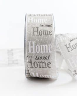 Home Sweet Home Geschenkband, grau, 40 mm breit - geschenkband, geschenkband-gemustert