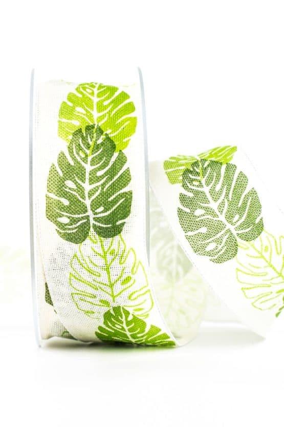 Dekoband Philodendron, 40 mm breit - geschenkband, geschenkband-gemustert, dekoband