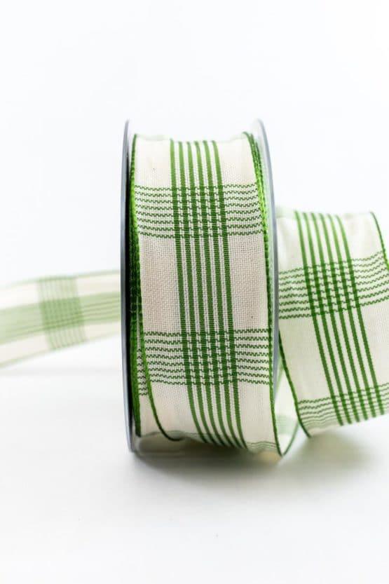 Kariertes Geschenkband, grün, 40 mm breit - karoband, geschenkband, geschenkband-kariert