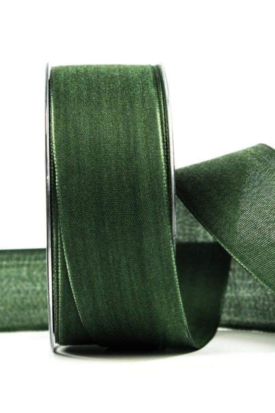 Geschenkband Leinen, tannengrün, 40 mm breit - geschenkband, geschenkband-einfarbig