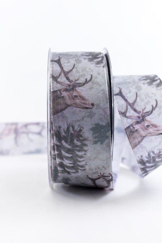 Geschenkband Winterwald, grün-braun, 40 mm breit - weihnachtsbaender, geschenkband-weihnachten-gemustert, geschenkband-weihnachten