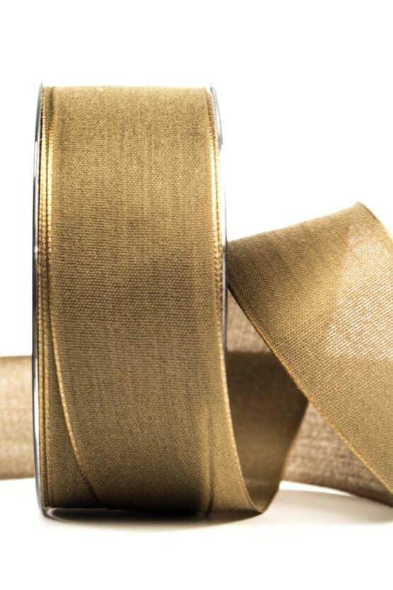 Geschenkband Leinen, goldbraun, 40 mm breit - geschenkband, geschenkband-einfarbig