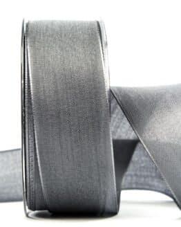 Geschenkband Leinen, grau, 40 mm breit - geschenkband, geschenkband-einfarbig