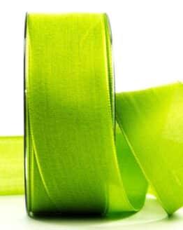 Geschenkband Leinen, apfelgrün, 40 mm breit - geschenkband, geschenkband-einfarbig