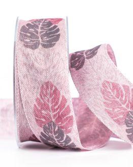 Changierendes Schleifenband Blätter, rosa, 40 mm breit - geschenkband, geschenkband-gemustert