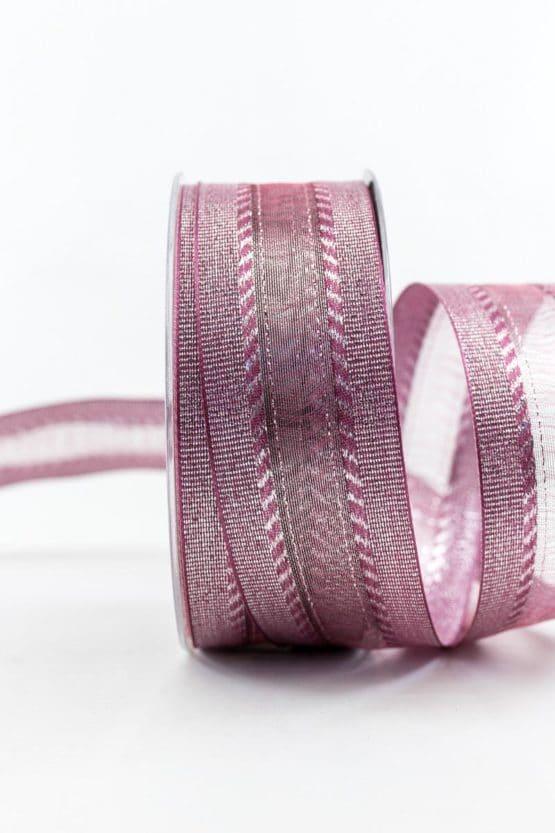 Elegantes Weihnachtsgeschenkband, lila, 40 mm breit - weihnachtsbaender, geschenkband-weihnachten-einfarbig, geschenkband-weihnachten