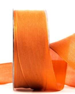 Geschenkband Leinen, dunkelorange, 40 mm breit - geschenkband, geschenkband-einfarbig