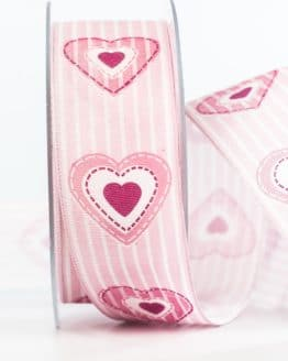 Geschenkband Herz, rosa, 40 mm breit - valentinstag, muttertag, geschenkband, geschenkband-mit-herzen, geschenkband-fuer-anlaesse, anlasse
