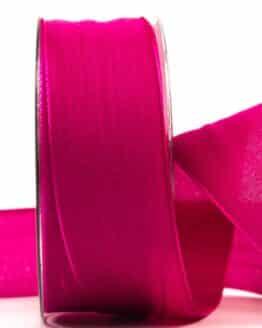 Geschenkband Leinen, pink, 40 mm breit - geschenkband, geschenkband-einfarbig