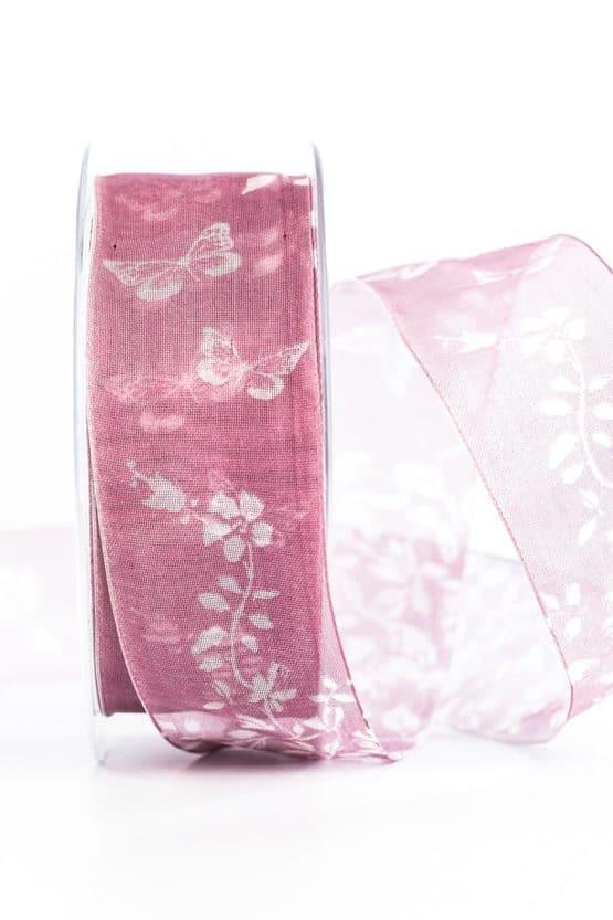Organzaband Schmetterlinge, rosa, 40 mm breit - organzaband, organzaband-gemustert