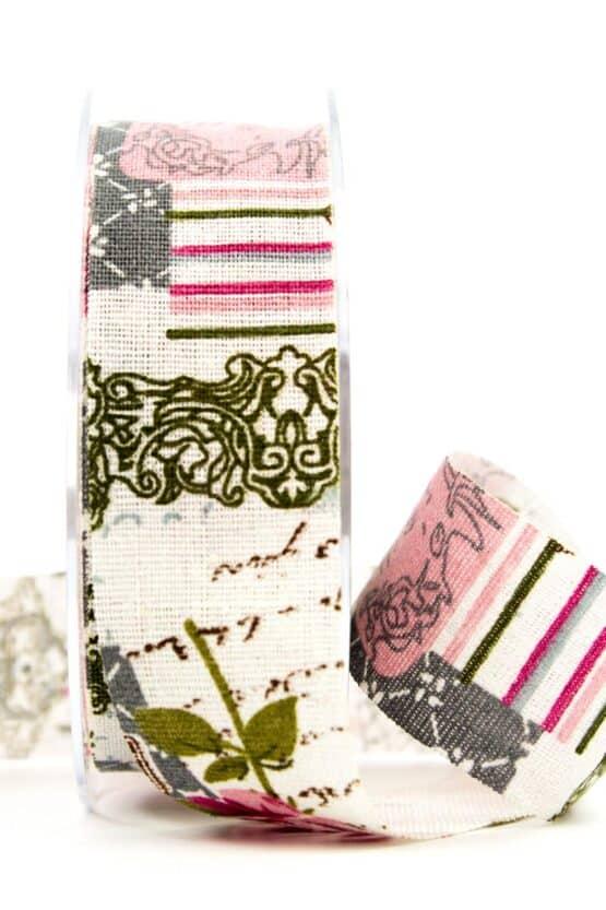 Leinenband Romantique, 40 mm breit - geschenkband, geschenkband-gemustert, dekoband