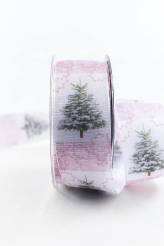 Lieblicher Weihnachtsbaum, rosa, 40 mm breit - weihnachtsbaender, geschenkband-weihnachten-gemustert, geschenkband-weihnachten