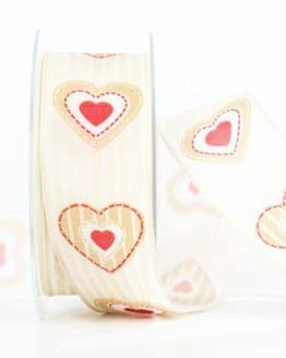Geschenkband Herz, beige, 40 mm breit - valentinstag, muttertag, geschenkband, geschenkband-mit-herzen, geschenkband-fuer-anlaesse, anlasse