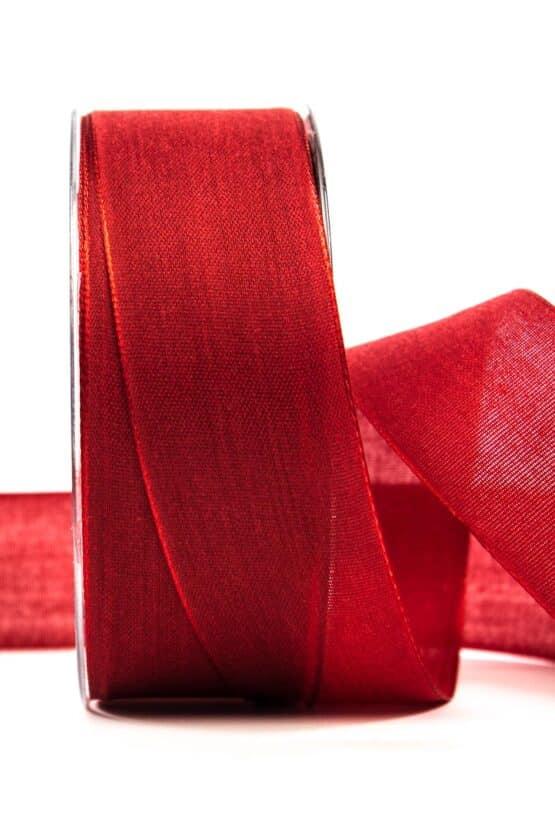 Geschenkband Leinen, rot, 40 mm breit - geschenkband, geschenkband-einfarbig
