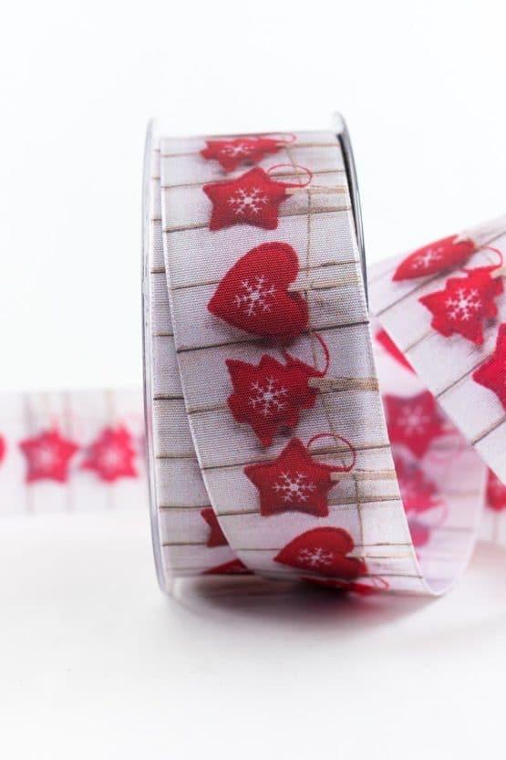 Traditionelle Weihnacht, rot, 40 mm breit - weihnachtsbaender, geschenkband-weihnachten-gemustert, geschenkband-weihnachten