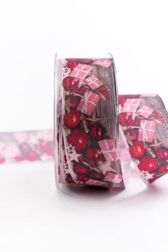 Geschenke über alles, rot, 40 mm breit - weihnachtsbaender, geschenkband-weihnachten-gemustert, geschenkband-weihnachten