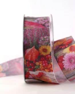 Herbstliches Geschenkband, 40 mm breit - geschenkband, geschenkband-gemustert, dekoband