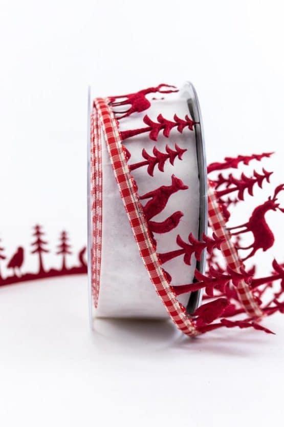 Dekogirlande Winterwald, rot, 40 mm breit - weihnachtsbaender, geschenkband-weihnachten-gemustert, geschenkband-weihnachten