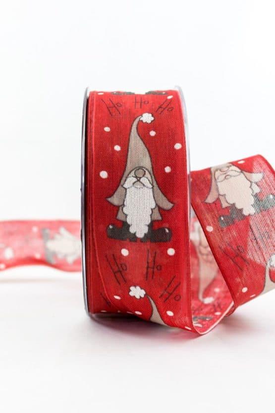 Nikolaus Hohoho, rot, 40 mm breit - weihnachtsbaender, geschenkband-weihnachten-gemustert, geschenkband-weihnachten