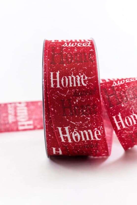 Home Sweet Home Geschenkband, rot, 40 mm breit - geschenkband, geschenkband-gemustert