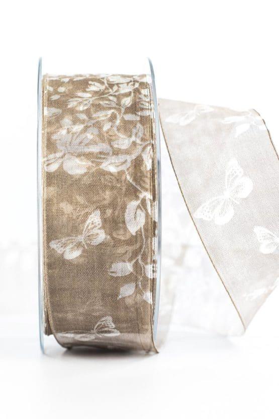 Organzaband Schmetterlinge, braun, 40 mm breit - organzaband, organzaband-gemustert