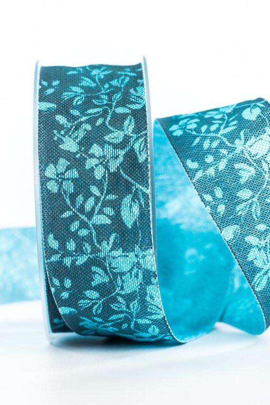 Changierendes Geschenkband Schmetterlinge, türkis, 40 mm breit - geschenkband, geschenkband-gemustert