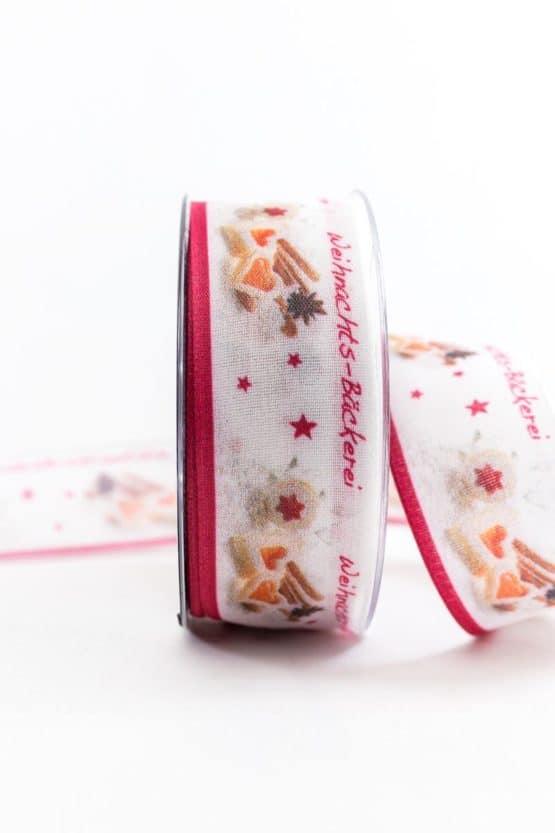 Geschenkband Weihnachtsbäckerei, 40 mm breit - weihnachtsbaender, geschenkband-weihnachten-gemustert, geschenkband-weihnachten