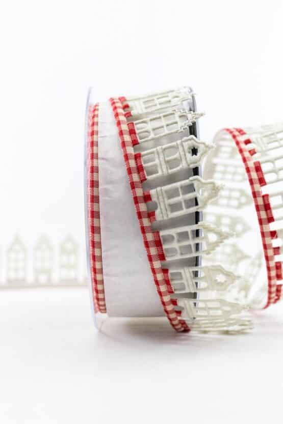 Dekolitze Winterhäuser, rot-creme, 40 mm breit - weihnachtsbaender, geschenkband-weihnachten-gemustert, geschenkband-weihnachten