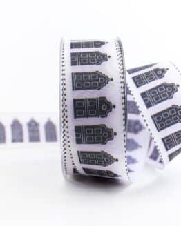 Geschenkband Häuser, schwarz-weiß, 40 mm breit - geschenkband, geschenkband-gemustert