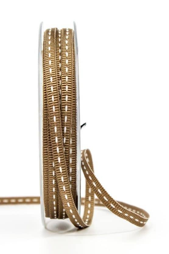 Stichband, braun, 5 mm breit - geschenkband, geschenkband-gemustert