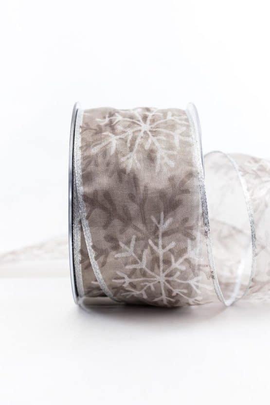 Organzaband mit Eiskristallen, grau, 60 mm breit - weihnachtsbaender, geschenkband-weihnachten-gemustert, geschenkband-weihnachten