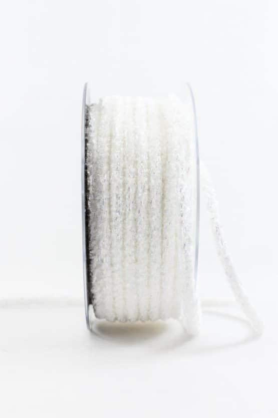 Flechtkordel Glitzer, weiß, 6 mm breit - weihnachtsbaender, kordeln, geschenkband-weihnachten-einfarbig, geschenkband-weihnachten