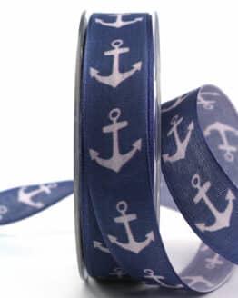 Dekoband Anker, 25 mm breit - geschenkband, geschenkband-gemustert, dekoband