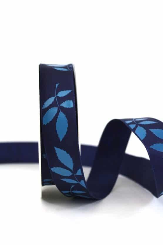 Geschenkband Blätter, blau, 25 mm breit - geschenkband-gemustert